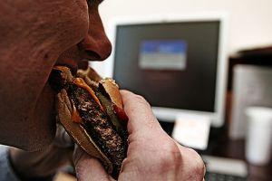 Burgerat the desk